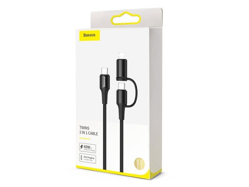 کابلِ سریع 2 کاره تایپ سی و لایتنینگِ بیسوس مدل Baseus Twin 2in1 60W PD Quick Charging Cable 1m
